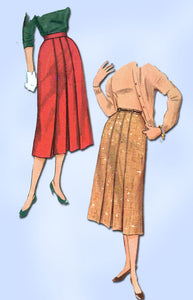 1950s Vintage Simplicity Sewing Pattern 4886 Uncut Misses Pleated Skirt 28 Waist