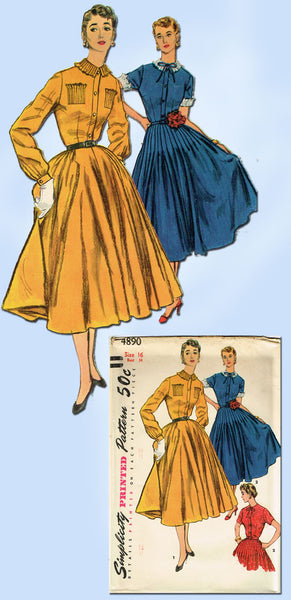 1950s Vintage Simplicity Sewing Pattern 4890 FF Misses Tucked Dress Size 16 34B
