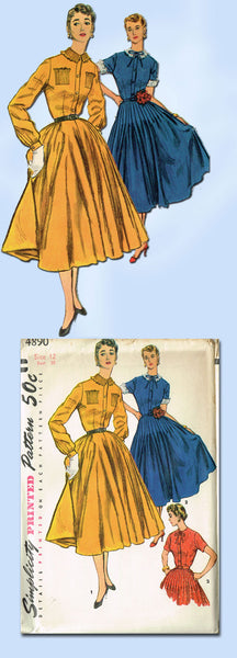 1950s Vintage Simplicity Sewing Pattern 4890 Uncut Misses Tucked Dress Sz 12 30B