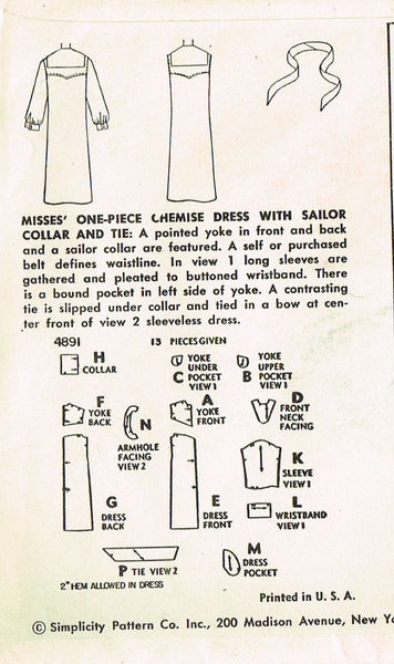 1950s Vintage Misses Dress Uncut 1954 Simplicity Sewing Pattern 4891 Size 14