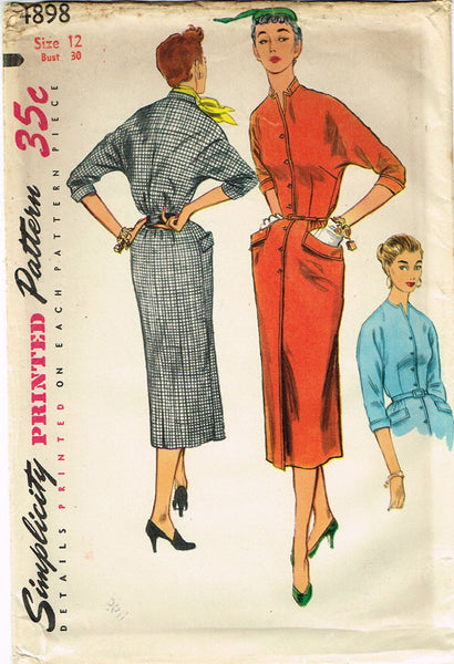 1950s Vintage Simplicity Sewing Pattern 4898 Uncut Misses Day Dress Size 12