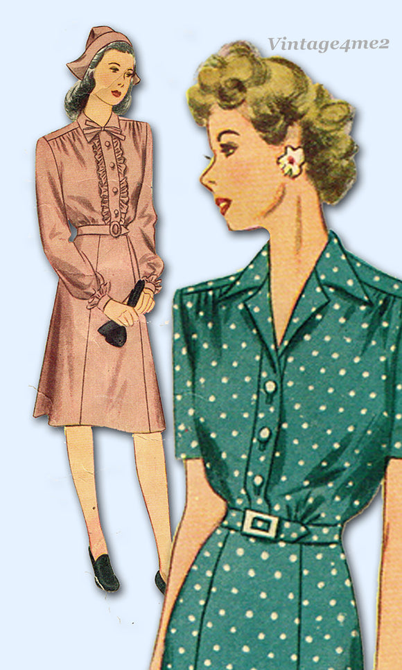 Simplicity 4906: 1940s Charming Misses WWII Dress Sz 36 B Vintage Sewing Pattern
