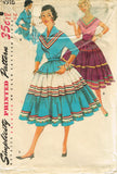 1950s Vintage Simplicity Sewing Pattern 4916 Uncut Misses' Squaw Dress Size 14