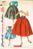 1950s Vintage Simplicity Sewing Pattern 4927 FF Misses Circle Skirt Easy Sz 24 W
