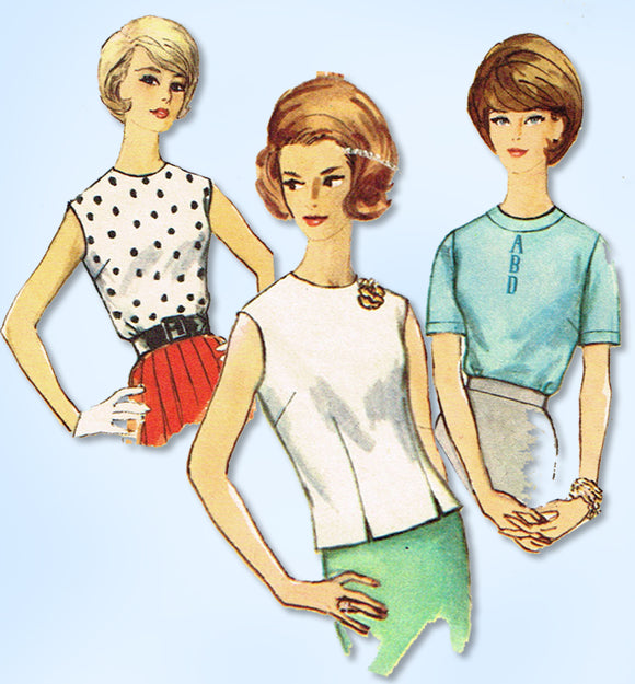 1960s Original Vintage Simplicity Pattern 4935 Misses Monogram Blouse Set Sz 34B
