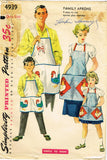 1950s Vintage Simplicity Sewing Pattern 4939 Easy Family Apron Set Fits All