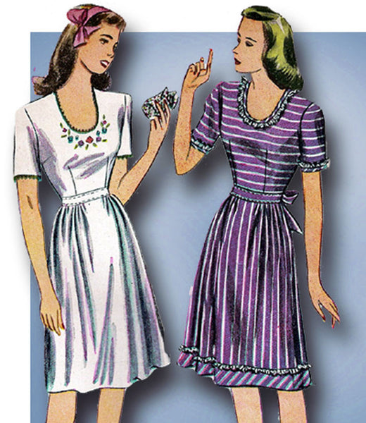 1940s Vintage Simplicity Sewing Pattern 4942 WWII Easy Misses Dress Size 34 Bust