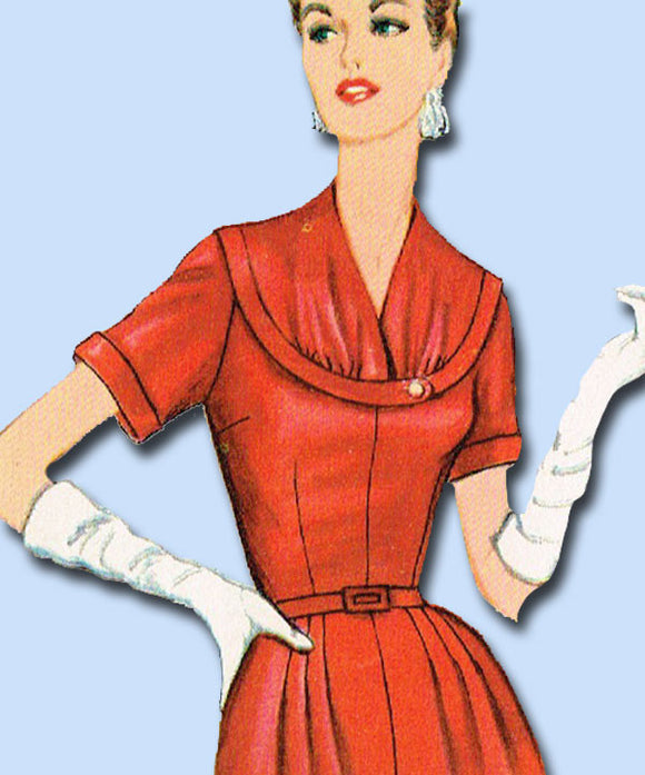 1950s Vintage Simplicity Sewing Pattern Uncut Misses Afternoon Dress Sz 18.5 37B