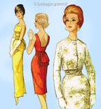 1960s Vintage Simplicity Sewing Pattern 4653 Misses Cocktail Dress & Jacket 32B