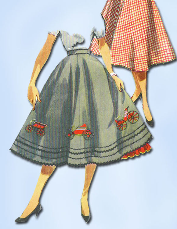 1950s Vintage Misses Circle Skirt Uncut 1954 Simplicity VTG Sewing Pattern 26 W
