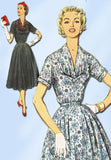 1950s Vintage Misses Afternoon Dress Uncut Simplicity Sewing Pattern Sz 18.5 37B