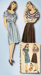 1940s Vintage Simplicity Sewing Pattern 4961 WWII Misses Skirt and Blouse Sz 30B