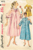 1950s Vintage Simplicity Sewing Pattern 4972 Misses Peignoir or Negligee Sz 30 B