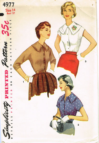 1950s Misses Simplicity Sewing Pattern 4977 Uncut Misses Blouse Size 14 32B