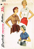 1950s Misses Simplicity Sewing Pattern 4977 FF MIsses Simple Blouse Size 12 30B