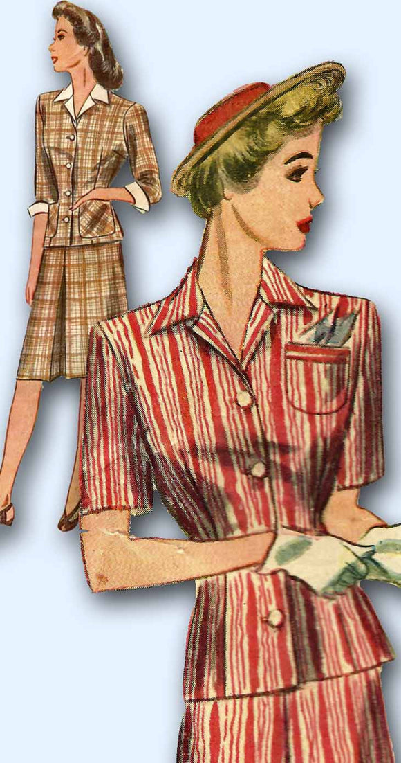 1940s Vintage Simplicity Sewing Pattern 4983 Misses WWII Tailored Suit Size 12 -Vintage4me2