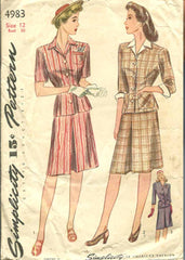1940s Vintage Simplicity Sewing Pattern 4983 Misses WWII Tailored Suit Size 12