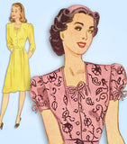 1940s Vintage Simplicity Sewing Pattern 4985 Easy WWII Misses Dress Size 34 Bust
