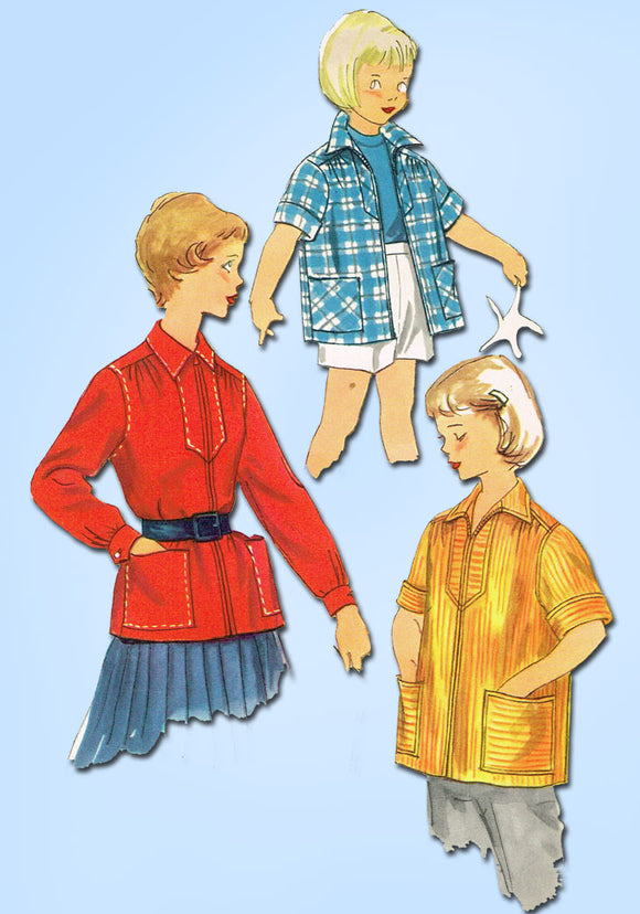 1950s Vintage Simplicity Sewing Pattern 4991 Uncut Girls Pullover Jacket Size 4 - Vintage4me2