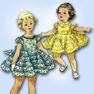 1950s Vintage Simplicity Sewing Pattern 4992 Toddler Girls Party Dress Sz 4 23B