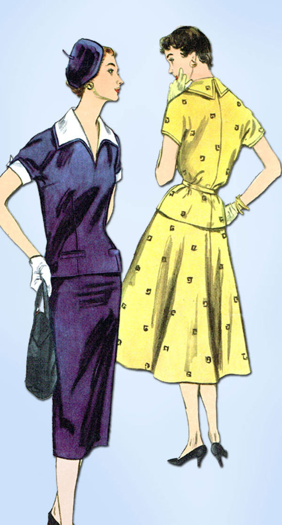 1950s Vintage Simplicity Sewing Pattern 4997 Uncut Misses 2 PC Dress Sz 32 Bust