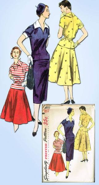1950s Vintage Misses 2 Pc Dress Uncut 1955 Simplicity Sewing Pattern 4997 Sz 14