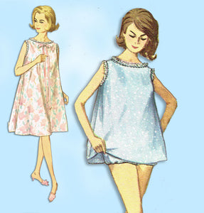1960s Vintage Simplicity Sewing Pattern 5002 Uncut Misses Jiffy Nightgown Set Sz Med