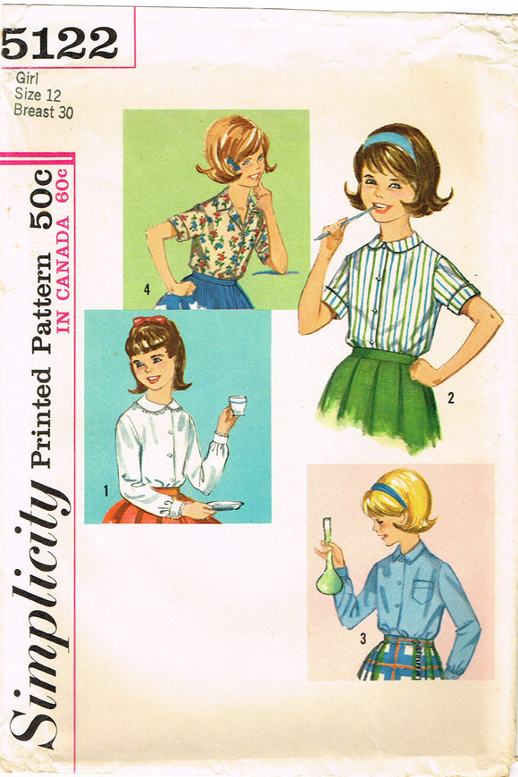 1960s Vintage Simplicity Sewing Pattern 5122 Cute Little Girls Blouse Size 12