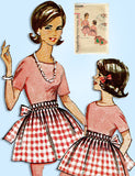 1960s Original Vintage Simplicity Sewing Pattern 5228 Uncut Misses Holiday Apron