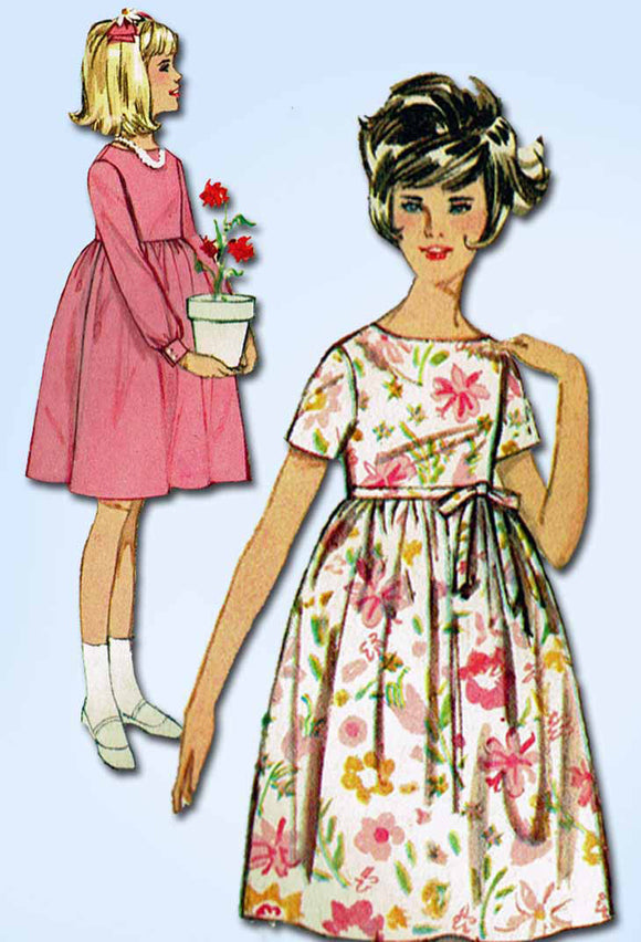 1960s Vintage Simplicity Sewing Pattern 5429 Toddler Girls High Waist Dress Sz 4