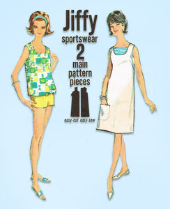 1960s Vintage Simplicity Sewing Pattern 5484 Misses Jiffy Shorts and Top Sz 34 B