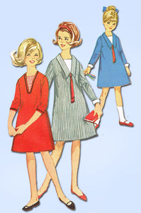 1960s Vintage Simplicity Sewing Pattern 5636 Uncut Girls Mod Dress Size 8 vintage4me2