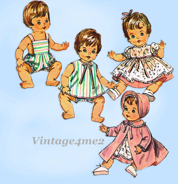 1960s Vintage Simplicity Sewing Pattern 5730 Cute 18in Tiny Tears Baby Doll Clothes