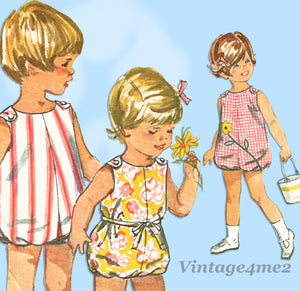 1960s Vintage Simplicity Sewing Pattern 6036 Uncut Baby Girls Bubble Romper Size 1