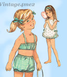 1960s Vintage Simplicity Sewing Pattern 6037 Baby Girls Bathing Suit & Cover Sz 1