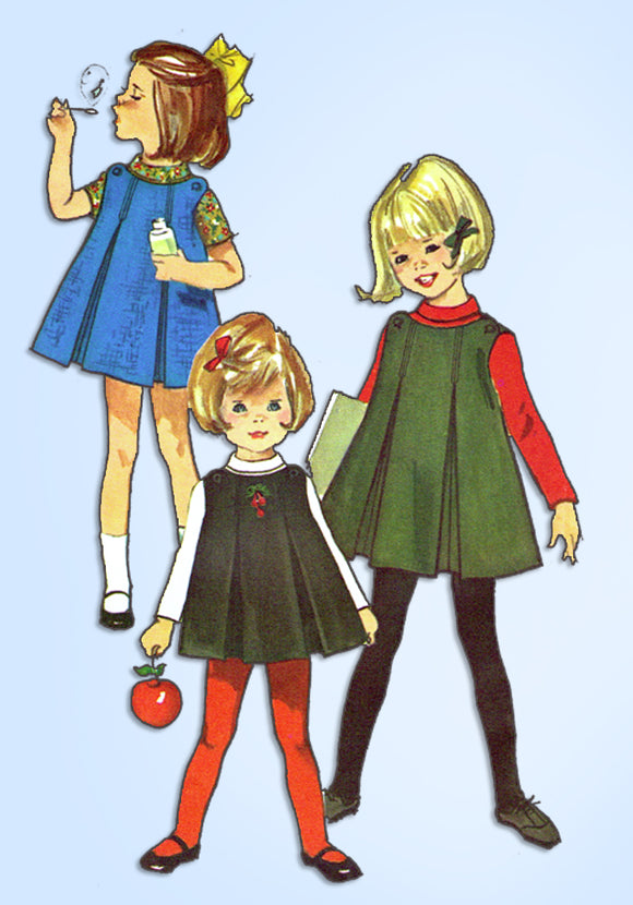 1960s Vintage Simplicity Sewing Pattern 6156 Toddler Girls Pleated Jumper Size 6
