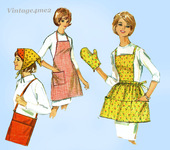 1960s Original Vintage Simplicity Sewing Pattern 6206 Cute Apron & Potholder Set