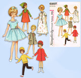 1960s Vintage Simplicity Sewing Pattern 6207 8 Inch Penny Brite Doll Clothes Set - Vintage4me2