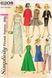 1960s Vintage Simplicity Sewing Pattern 6208 ORIG 11.5 Inch Barbie Doll Clothes