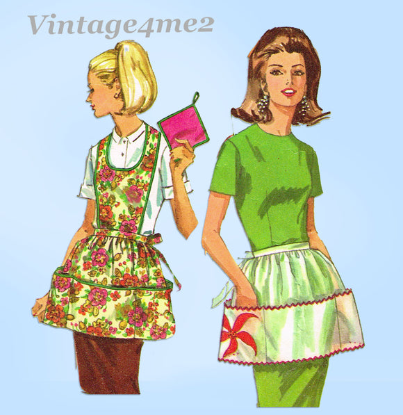 1960s Original Vintage Simplicity Sewing Pattern 6808 Cute Apron & Potholder Set