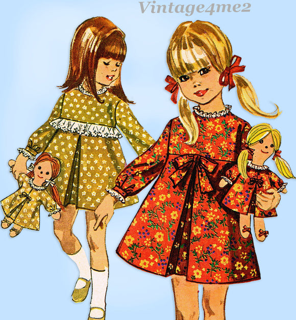 1960s Vintage Simplicity Sewing Pattern 6813 Uncut Girls Dress w Doll Sz 5