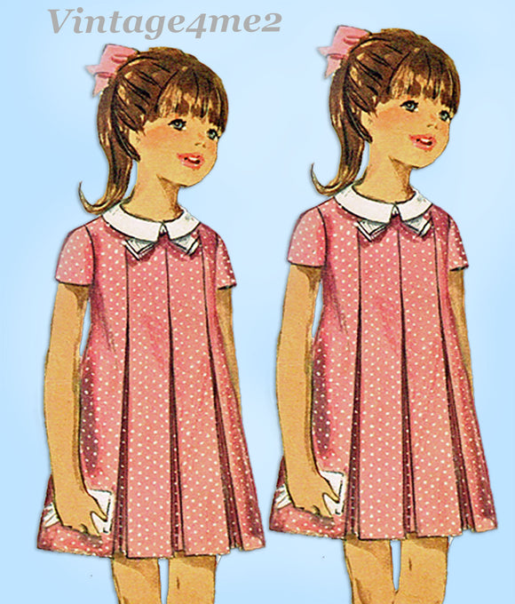 1960s Vintage Simplicity Sewing Pattern 7035 Uncut Toddler Girls Dress Size 6