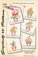 1940s Vintage Simplicity Embroidery Transfer 7198 Uncut Flower Pot Tea Towels