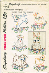 1940s Simplicity Embroidery Transfer 7253 Uncut Baby Animals Kids Cloths Trim