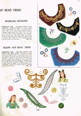 1940s Vintage Simplicity Embroidery Transfer 7408 Uncut Sequin Clothing Trims