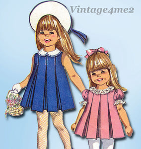 Simplicity 7561: 1960s Baby Girls Pleated Dress Sz 1 Vintage Sewing Pattern