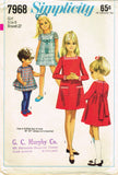 1960s Vintage Simplicity Sewing Pattern 7968 Uncut Girls Mod Dress Size 8