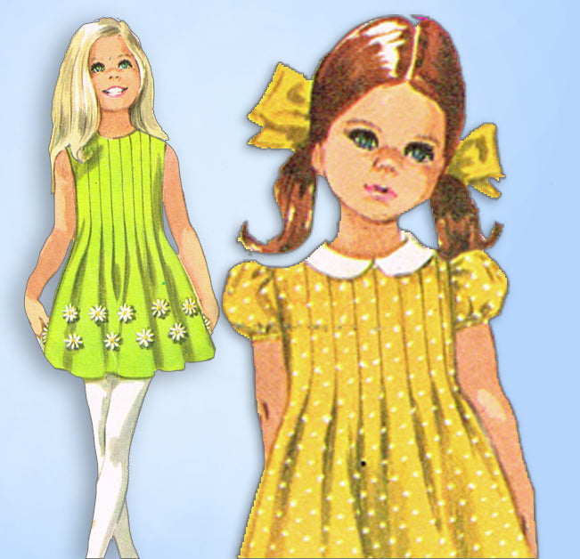 1960s Vintage Simplicity Sewing Pattern 8021 Girls Tucked Dress Sz ...