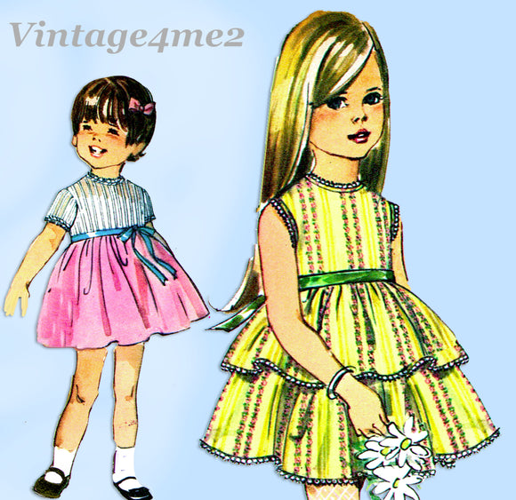 1960s Vintage Simplicity Sewing Pattern 8068 Cute Uncut Girls Party Dress Size 5