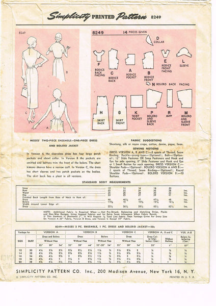 1950s Vintage Simplicity Designer Sewing Pattern 8249 Misses Dress Size 14